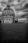 Pisa Baptistery in black and white