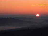 Sunrise in Siena countryside