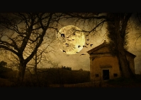 Tuscany full moon - Chapel near Asciano