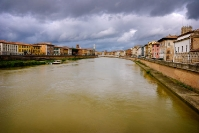 Pisa - Along the river on a cloudy day