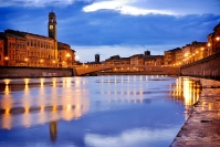 Pisa Arno river reflections
