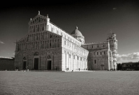 Pisa Cathedral Square in black and white