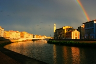 Rainbow over the Arno river in Pisa